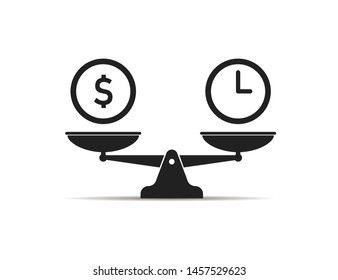 Scale icon money vs time balance isolated icon. Value work concept. Clock and dollar signs. EPS 10