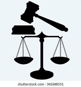 Skalieren und beurteilen. Einzeln auf blauem Hintergrund. Vektorsilhouetten