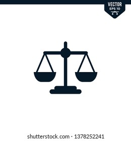 Scale of justice icon collection in glyph style, solid color vector