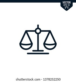 Scale of justice icon collection in outlined or line art style, editable stroke vector