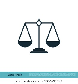 Scale of Justice, Law, Attorneys Icon Vector Logo Template Illustration Design. Vector EPS 10.