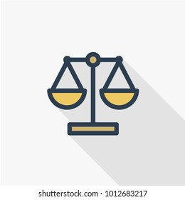 scale, justice, law, thin line flat color icon. Linear vector illustration. Pictogram isolated on white background. Colorful long shadow design.