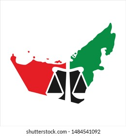 Scale of Law and UAE Map. Justice Symbol of Emirates. United Arab Emirates Map. Icon and Logo.