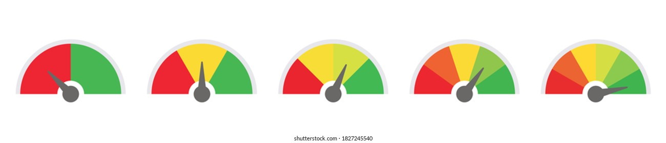 scale low to high, green and red vector gauge. risk, pain, feedback barometer sign, performance symbol. mood evaluation. on white background