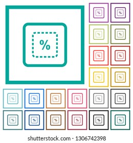 Scale object by percent flat color icons with quadrant frames on white background