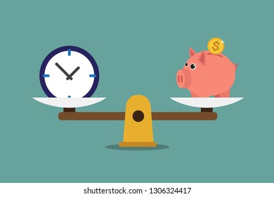 A scale with piggy bank and clock. Vector illustration.