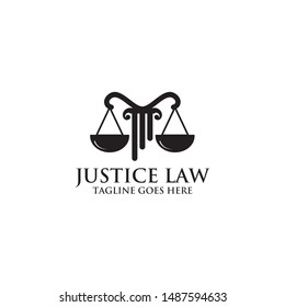 Scale and pillar logo design for law firm and attorney