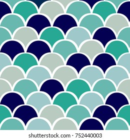 Scale seamless colorful vector pattern background. Ogee drop design