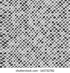 Scale seamless mosaic hand drawn pattern in gray colors
