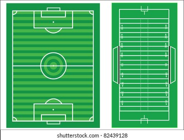 Scale vector diagrams of a soccer pitch and an american football field, with all markings and dimensions to scale