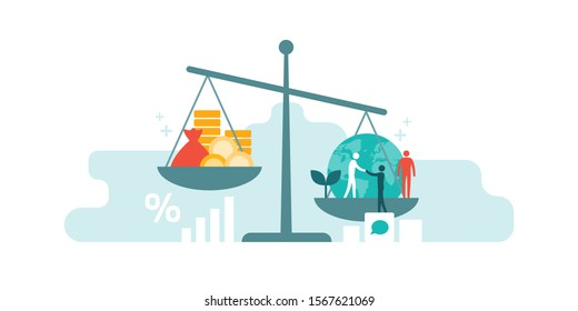 Scale with wealth and cash money on a plate and people, world, environment on the other; balancing business profits and human rights