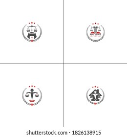 scale weight law judge court house housing home flat vector icon