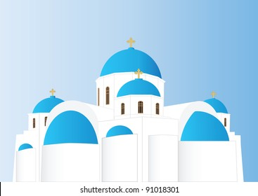 Scale-able Vector of a Blue and White Greek Orthodox Church with Domes and Gold Crosses