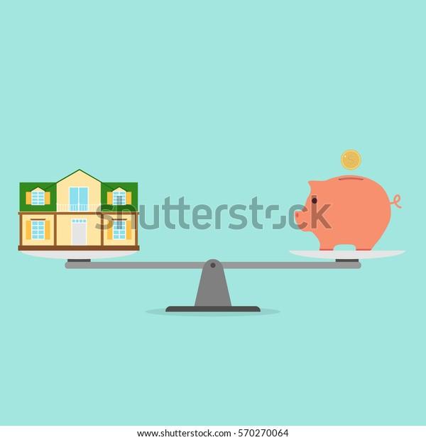 大きさ、お金と家のバランス、貯金箱、家、アイコンの大きさ。フラットデザイン、ベクターイラスト、ベクター画像。