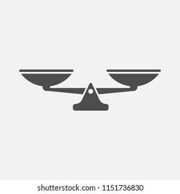 Scales balance icon isolated on white background. Vector illustration. Eps 10.