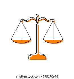 Scales balance sign. Vector. Black line icon with shifted flat orange filled icon on white background. Isolated.