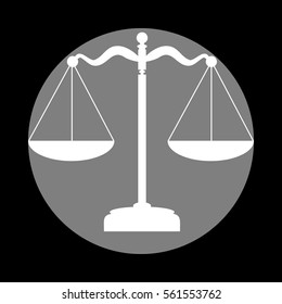 Scales balance sign. White icon in gray circle at black background. Circumscribed circle. Circumcircle.