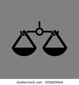 Scales, balance, weigher icon. Vector. Black icon on medium gray background. Isolated.