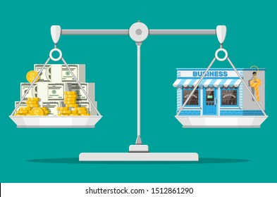Scales with commercial property with key and money. Business valuation. Real estate business promotional, startup. Selling or buying new business. Flat vector illustration
