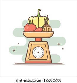 the scales contain fruits vector illustration