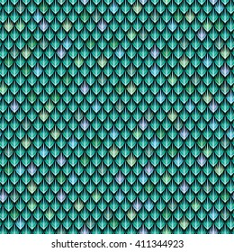 The scales of the green dragon. Abstract seamless pattern for your design