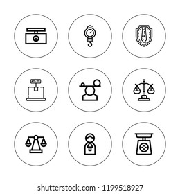 Scales icon set. collection of 9 outline scales icons with balance, judge, law, scale icons. editable icons.