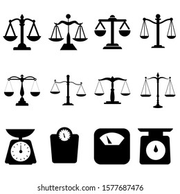 Scales icon vector set. scale illustration sign collection. attorney symbol or logo.