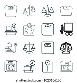 Scales icons. set of 16 editable outline scales icons such as lugagge weight, floor scale