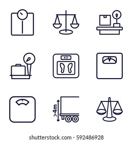 scales icons set. Set of 9 scales outline icons such as lugagge weight, cargo height