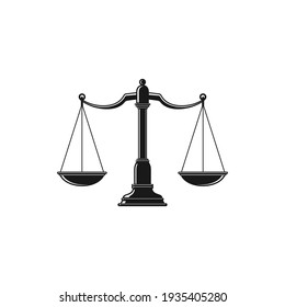 Scales isolated monochrome icon. Vector dual balance Themis scales of justice on decorative stand. Mechanical balancing scales, symbol of law and judgment, punishment and truth, measuring device