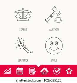 Scales of justice, auction hammer and slapstick icons. Smiling face linear sign. Edit document, Calendar and Graph chart signs. Star, Check and House web icons. Vector