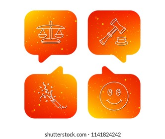 Scales of justice, auction hammer and slapstick icons. Smiling face linear sign. Orange Speech bubbles with icons set. Soft color gradient chat symbols. Vector