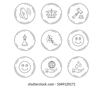 Scales of justice, auction hammer and strategy icons. Save planet and water linear signs. Smile, slapstick icons. Linear Circles web buttons with icons. Vector