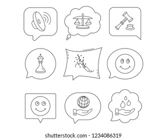 Scales of justice, auction hammer and strategy icons. Save planet and water linear signs. Smile, slapstick icons. Linear Speech bubbles with icons set. Comic chat balloon. Vector