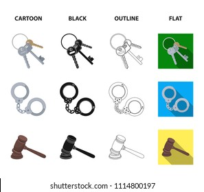 Scales of justice, cartridges, a bunch of keys, handcuffs.Prison set collection icons in cartoon,black,outline,flat style vector symbol stock illustration web.