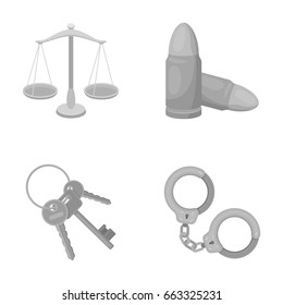 Scales of justice, cartridges, a bunch of keys, handcuffs.Prison set collection icons in monochrome style vector symbol stock illustration web.