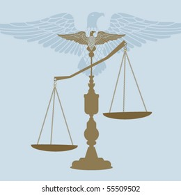 Scales of Justice with Eagle perched - use with or without eagle
