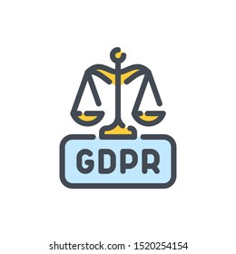 Scales of justice with GDPR law color line icon. Network protection vector outline colorful sign.