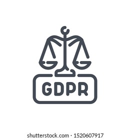 Scales of justice with GDPR law line icon. Network protection vector outline sign.