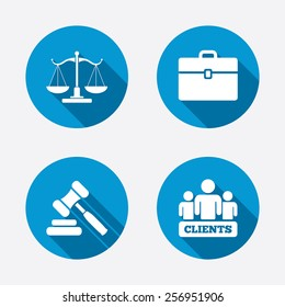 Scales of Justice icon. Group of clients symbol. Auction hammer sign. Law judge gavel. Court of law. Circle concept web buttons. Vector