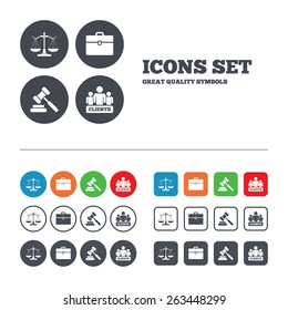 Scales of Justice icon. Group of clients symbol. Auction hammer sign. Law judge gavel. Court of law. Web buttons set. Circles and squares templates. Vector