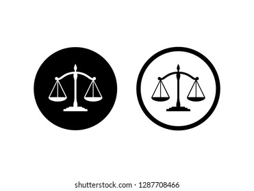 Scales Justice icon symbol vector. symbol for web site Computer and mobile vector.