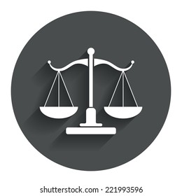 Scales of Justice sign icon. Court of law symbol. Circle flat button with shadow. Modern UI website navigation. Vector