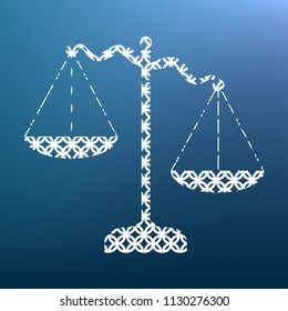 Scales of Justice sign. Vector. White textured icon at lapis lazuli gradient background.