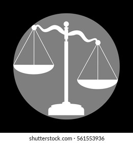 Scales of Justice sign. White icon in gray circle at black background. Circumscribed circle. Circumcircle.