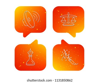 Scales of justice, sound and strategy icons. Slapstick linear sign. Orange Speech bubbles with icons set. Soft color gradient chat symbols. Vector