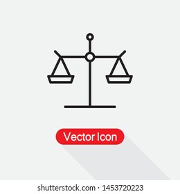 Scales of Juustice Icon, Law Scale Icon Vector Illustration Eps10