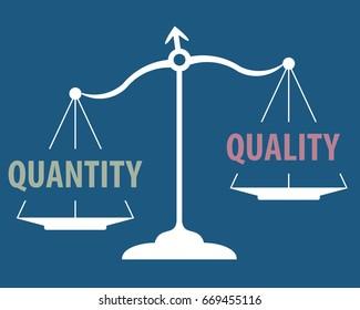 scales measuring quantity versus quality - quantity prevails concept