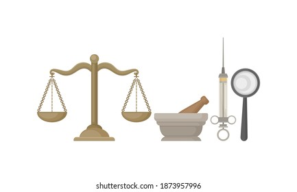 Scales and Mortar with Pestle as Ancient Medical Tools and Laboratory Equipment Vector Set