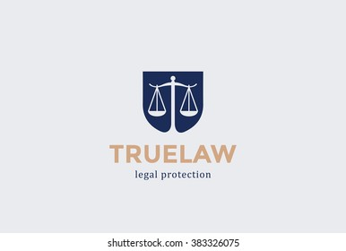 Scales Shield Law firm Logo design vector template Negative space. Judge Lawyer Attorney Advocate Legal Logotype concept icon.